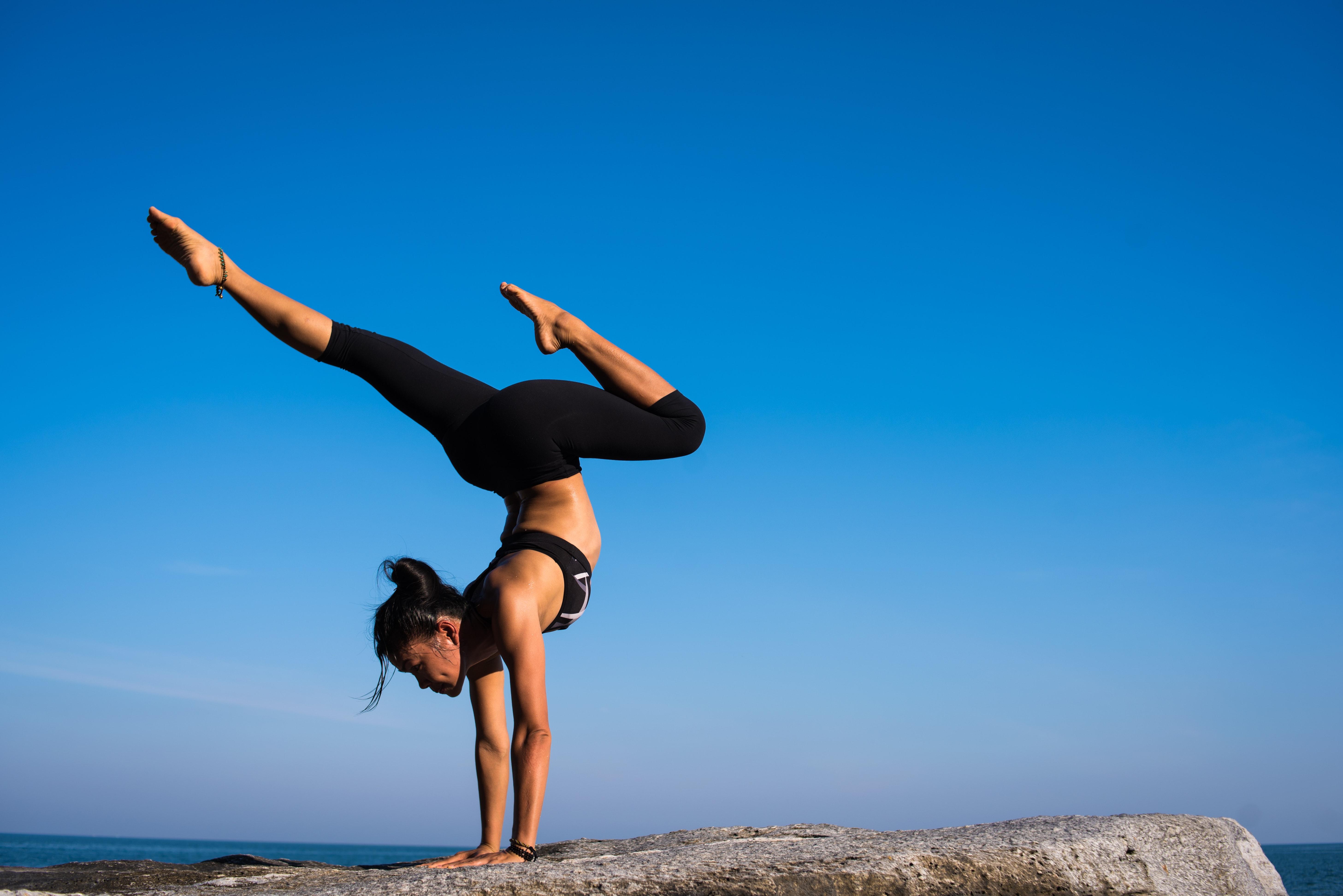 woman doing a yoga position