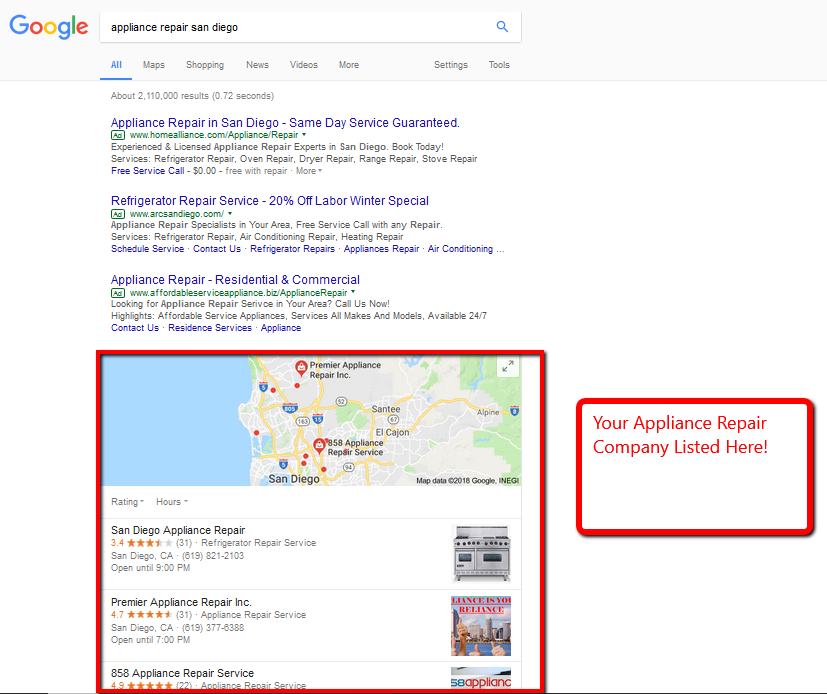 Optimize Your Appliance Repair Google Map Listing ... on google articles, google analytics, google white papers, google satellite internet, google adsense, google google glass, google direct mail, google is horrible, google google doodle, google logo, google site designs, google tech gadgets, google tweaks, google pagination, google facebook page, google xss, google ranking, google monday meme, google rip offs, google landing pages,