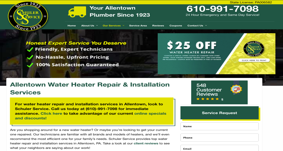 air conditioning repair or appliance service website