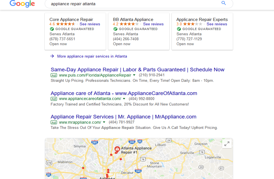 google home service ads for appliance repair companies