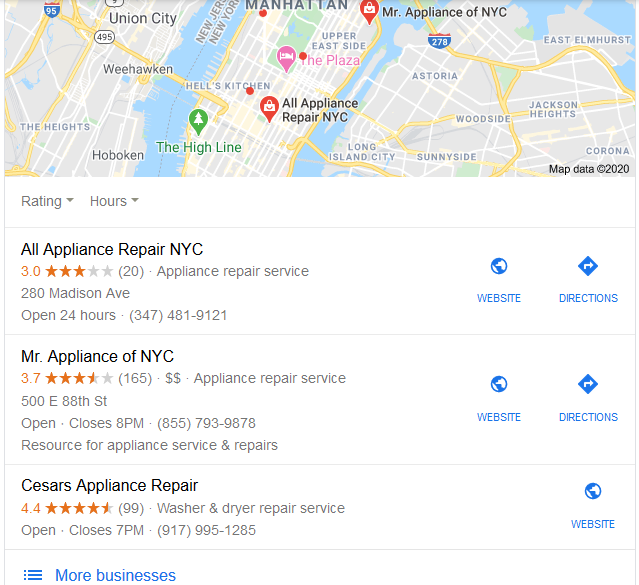 google local map pack example
