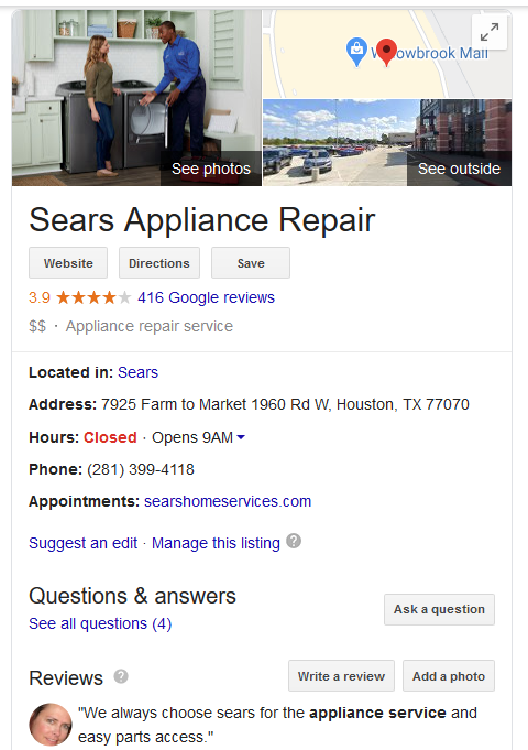 example appliance repair company knowledge graph