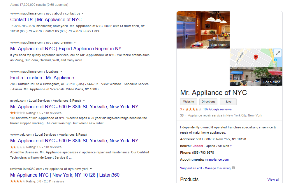 knowledge panel for appliance repair company