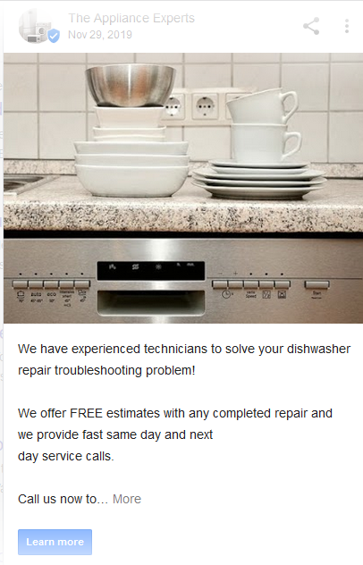 appliance repair company google my business posts