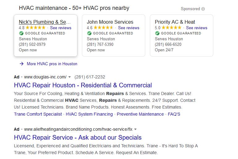 ac repair pay per click ads